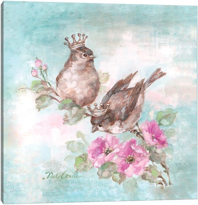 French Crown Songbirds I Canvas Print #DEB11