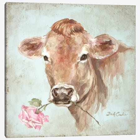 Cow With Rose Canvas Print #DEB13} by Debi Coules Canvas Wall Art