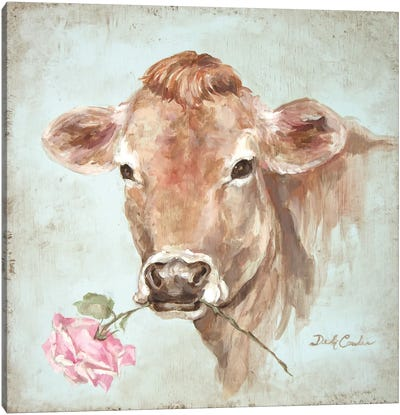 French Farmhouse Series: Cow With Rose Canvas Art Print