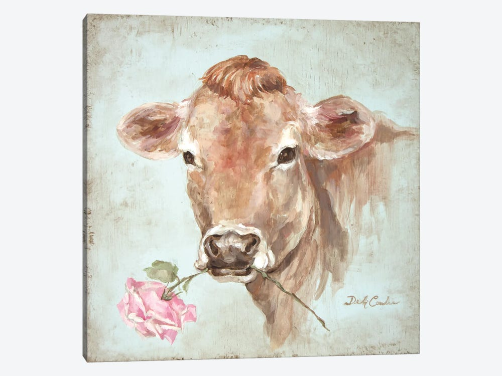 Cow With Rose by Debi Coules 1-piece Canvas Wall Art