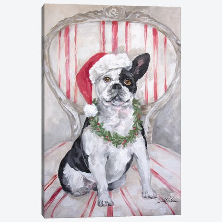 Frenchies Christmas Canvas Print #DEB140} by Debi Coules Canvas Art Print