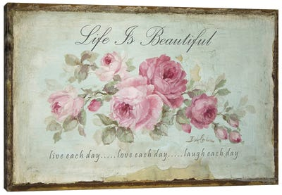 Life is Beautiful; Live, Love, Laugh Canvas Art Print