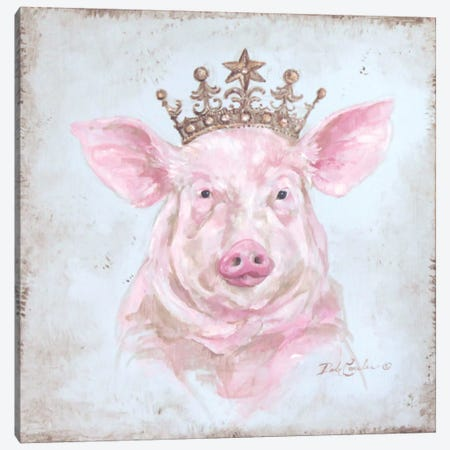 Crowned Pig Canvas Print #DEB14} by Debi Coules Canvas Print