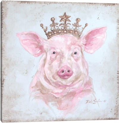French Farmhouse Series: Crowned Pig Canvas Print #DEB14