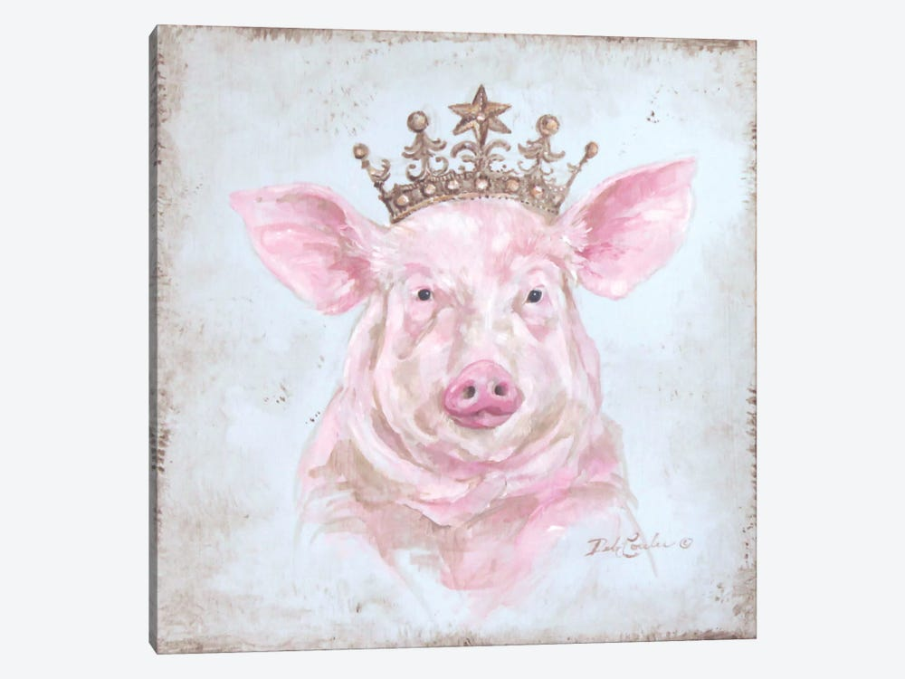 Crowned Pig by Debi Coules 1-piece Art Print