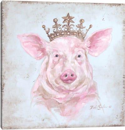Crowned Pig Canvas Art Print