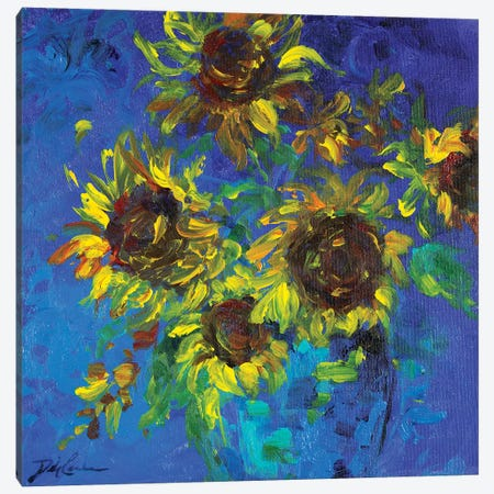 Sunflowers in Vase Canvas Print #DEB157} by Debi Coules Art Print