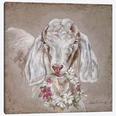 French Farmhouse Series: Goat With Wreath Canvas Print #DEB15} by Debi Coules Canvas Print