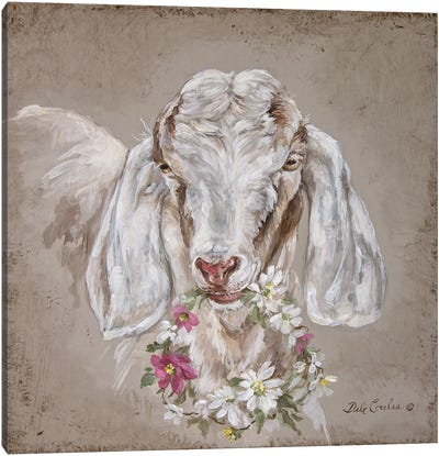 French Farmhouse Series: Goat With Wreath Canvas Art Print