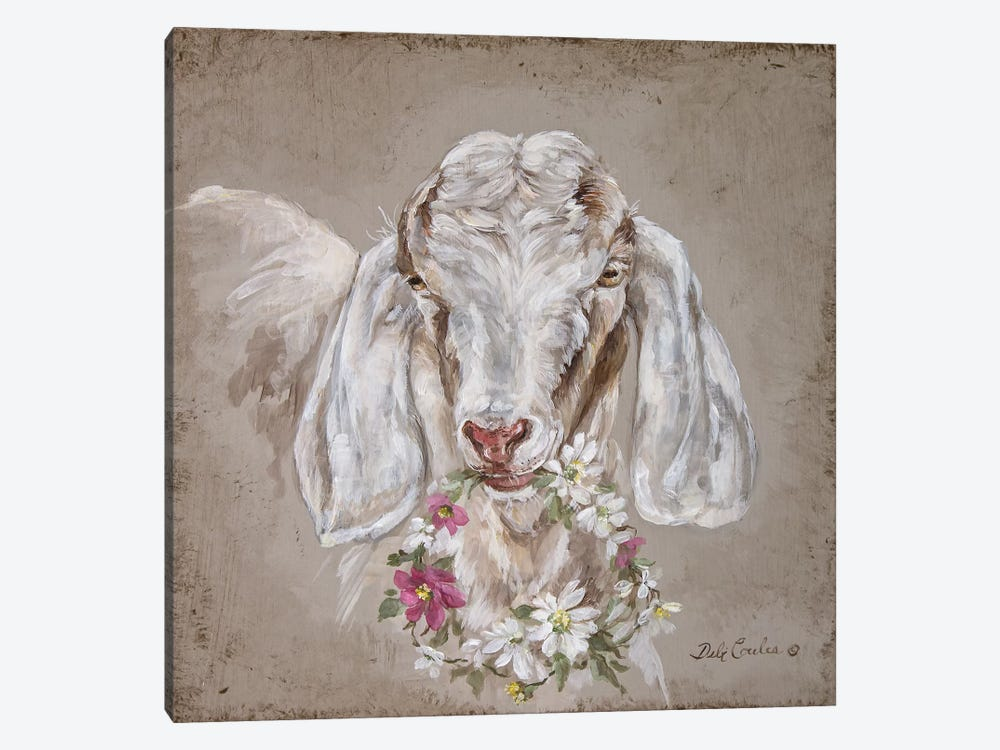 French Farmhouse Series: Goat With Wreath 1-piece Canvas Wall Art