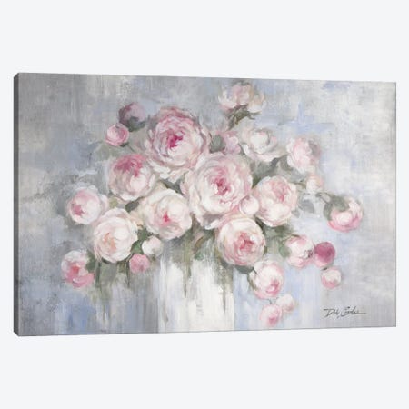 Peonies in White Vase Canvas Print #DEB163} by Debi Coules Canvas Art Print