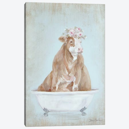 Cow In A Tub Canvas Print #DEB170} by Debi Coules Canvas Art