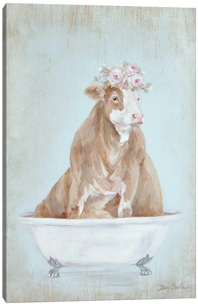 Cow In A Tub Canvas Art Print