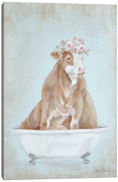 Cow In A Tub Canvas Art Print
