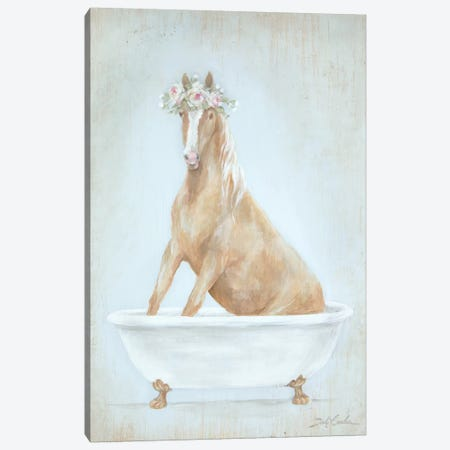 Horse In A Tub Canvas Print #DEB171} by Debi Coules Canvas Wall Art