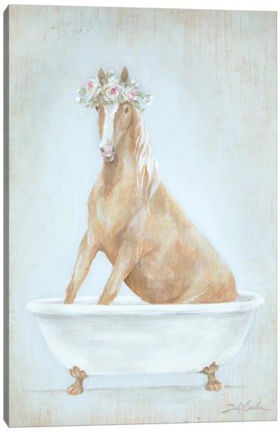 Horse In A Tub Canvas Art Print