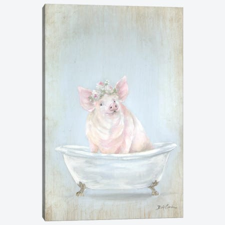Pig In A Tub Canvas Print #DEB172} by Debi Coules Canvas Art