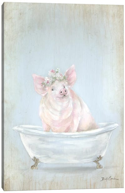 Pig In A Tub Canvas Art Print