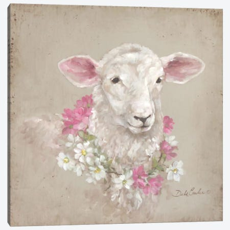 French Farmhouse Series: Sheep With Wreath Canvas Print #DEB17} by Debi Coules Art Print