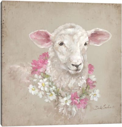 French Farmhouse Series: Sheep With Wreath Canvas Art Print