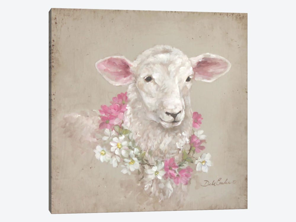 French Farmhouse Series: Sheep With Wreath by Debi Coules 1-piece Canvas Wall Art