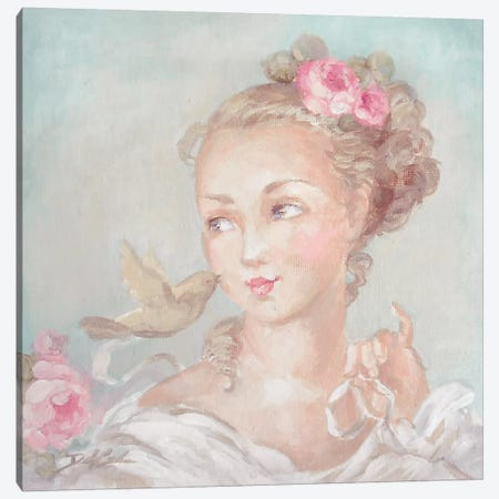 French Lady With Bird Canvas Print #DEB18} by Debi Coules Canvas Art