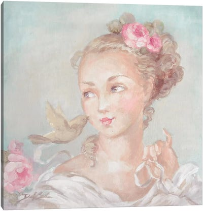 French Lady With Bird Canvas Art Print
