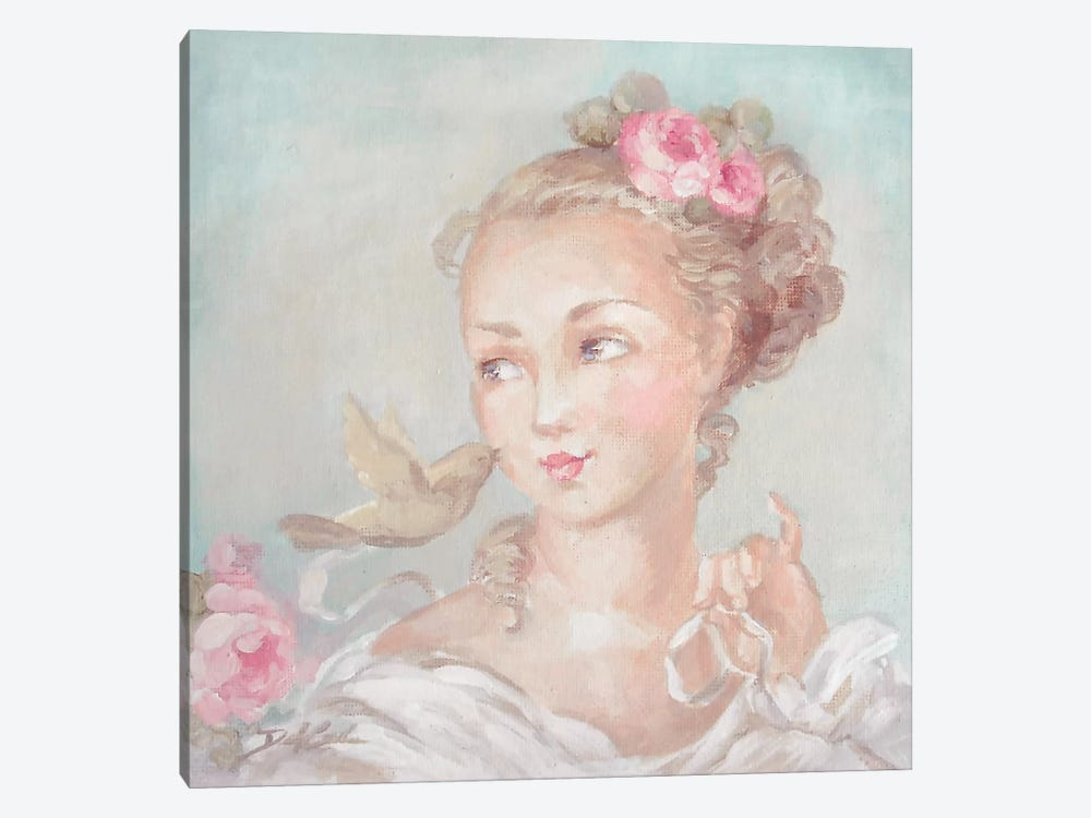 French Lady With Bird by Debi Coules 1-piece Art Print