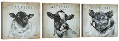 Farms Triptych Canvas Art Print