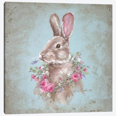 French Farmhouse Series: Bunny With Wreath Canvas Print #DEB56} by Debi Coules Canvas Print