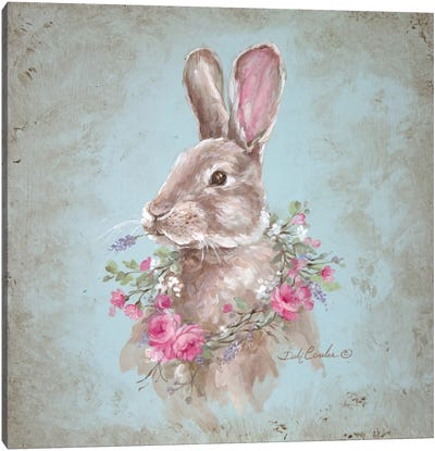 French Farmhouse Series: Bunny With Wreath Canvas Print #DEB56