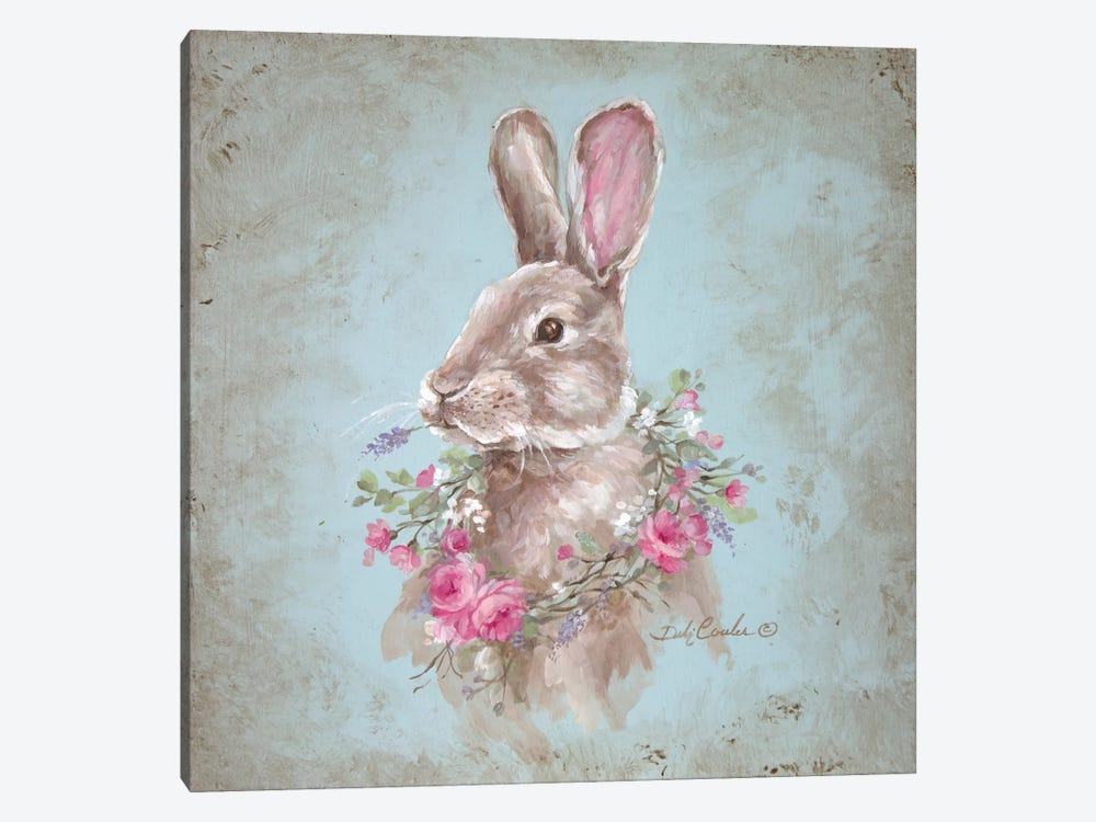 French Farmhouse Series: Bunny With Wreath by Debi Coules 1-piece Canvas Print
