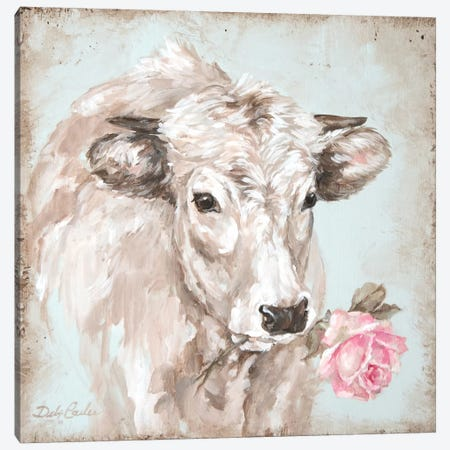 Cow With Rose II Canvas Print #DEB61} by Debi Coules Art Print