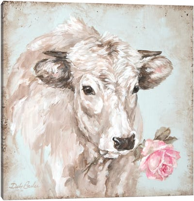 French Farmhouse Series: Cow With Rose II Canvas Art Print