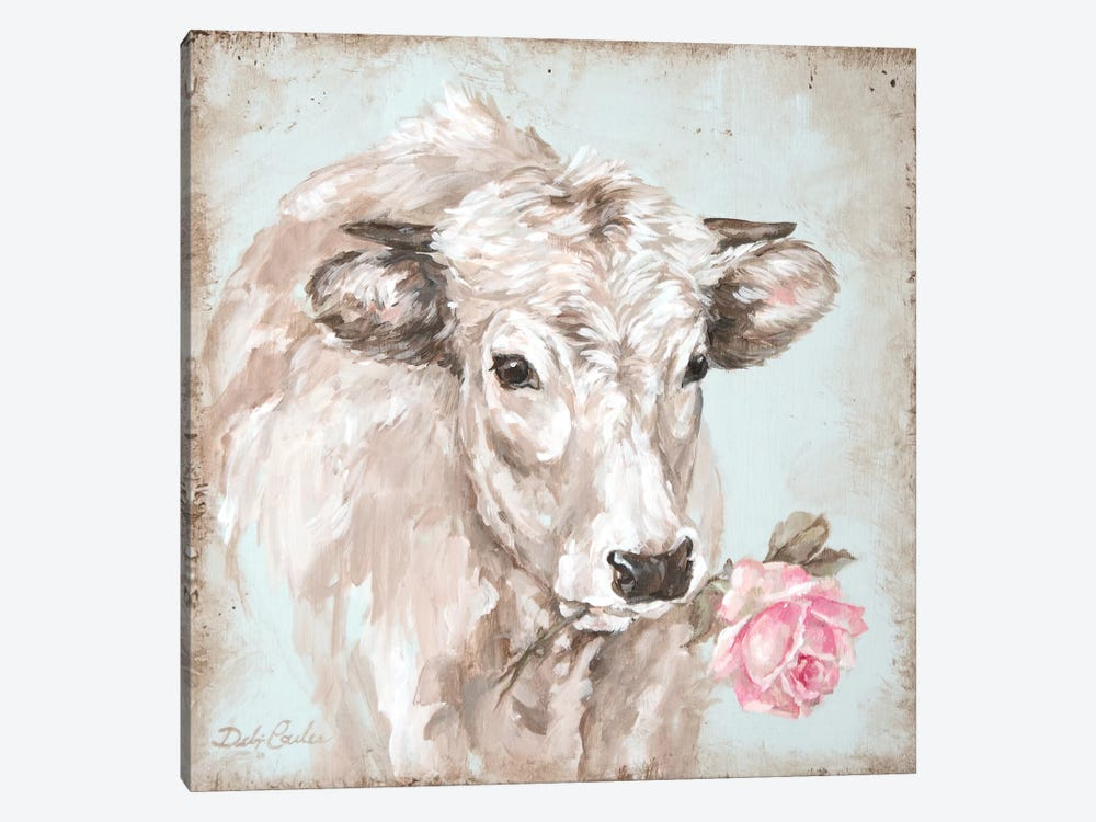 Cow With Rose II by Debi Coules 1-piece Canvas Print