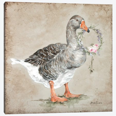 French Farmhouse Series: Goose With Wreath Canvas Print #DEB62} by Debi Coules Art Print