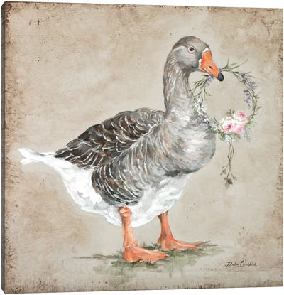 French Farmhouse Series: Goose With Wreath Canvas Print #DEB62