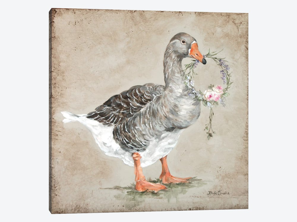 French Farmhouse Series: Goose With Wreath by Debi Coules 1-piece Canvas Art