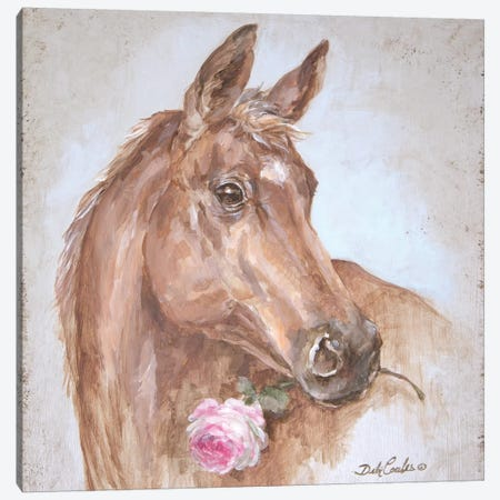 French Farmhouse Series: Horse With Rose Canvas Print #DEB63} by Debi Coules Canvas Print