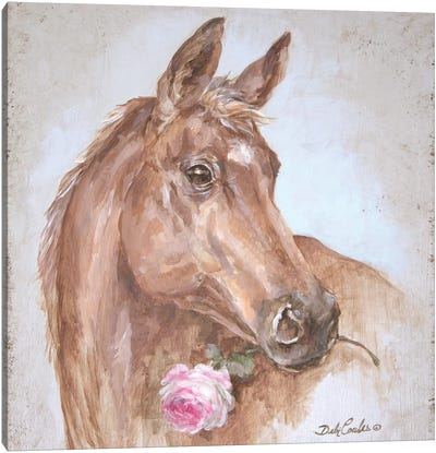 French Farmhouse Series: Horse With Rose Canvas Art Print