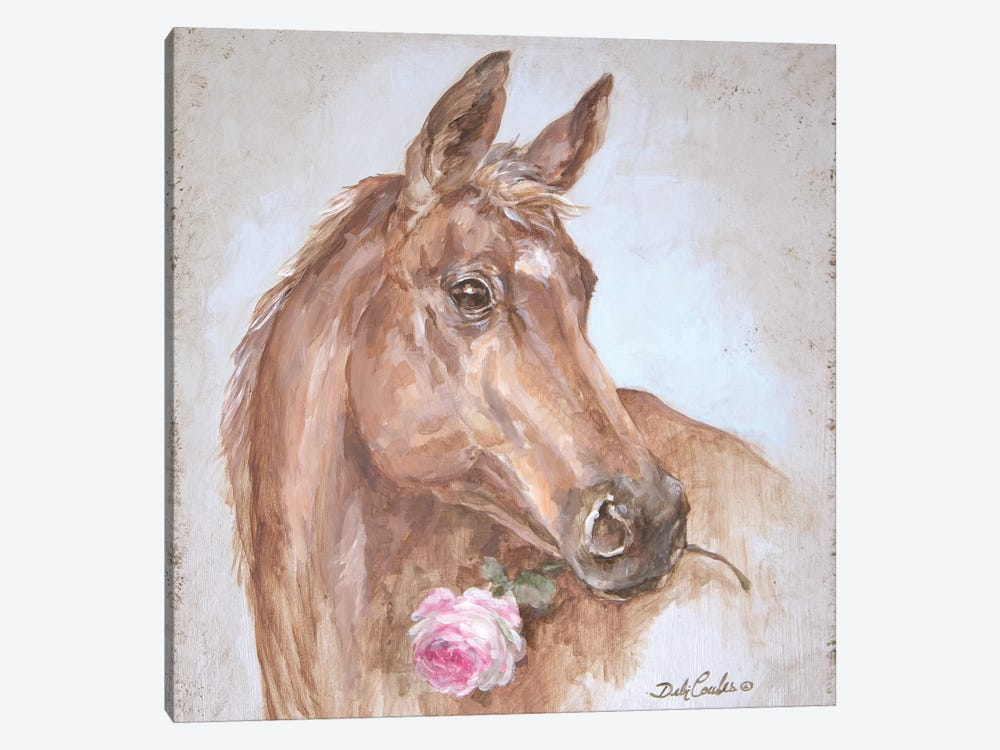 French Farmhouse Series: Horse With Rose by Debi Coules 1-piece Art Print