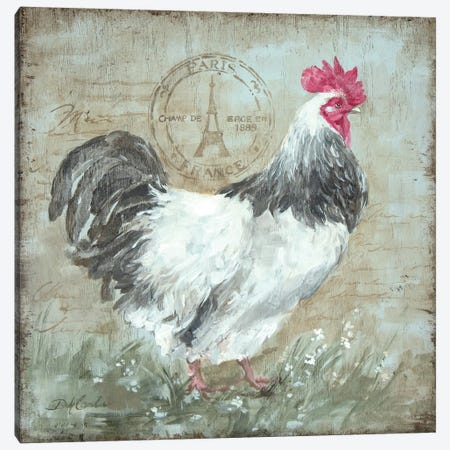 Parisian Postmarked Rooster I Canvas Print #DEB70} by Debi Coules Canvas Artwork
