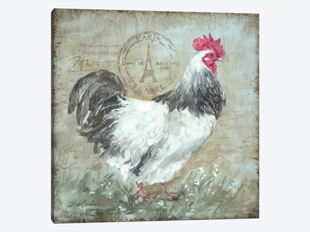 Parisian Postmarked Rooster I 1-piece Canvas Art Print