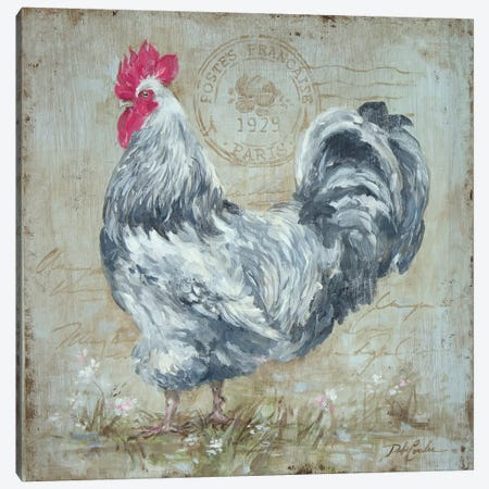 Parisian Postmarked Rooster II Canvas Print #DEB71} by Debi Coules Canvas Art