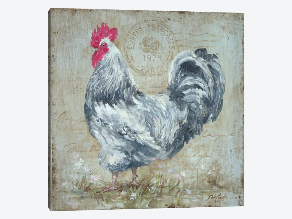 Parisian Postmarked Rooster II by Debi Coules 1-piece Canvas Artwork