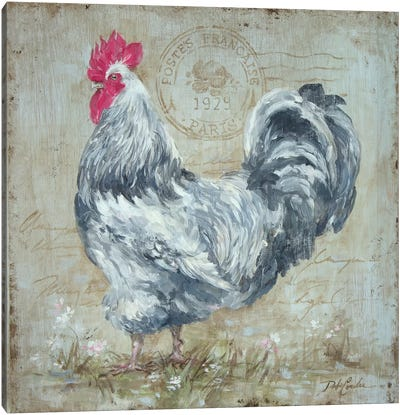 Parisian Postmarked Rooster II Canvas Art Print