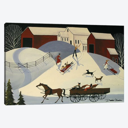 Bobbys First Sled Ride Canvas Print #DEC126} by Debbie Criswell Canvas Art Print