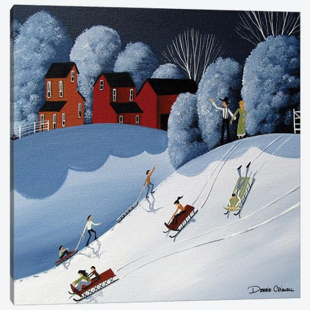 Family Fun Snow Day Canvas Print #DEC137} by Debbie Criswell Canvas Wall Art