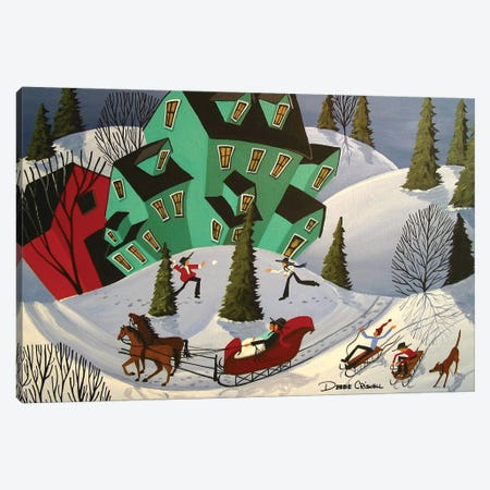 Sleigh Ride Canvas Print #DEC161} by Debbie Criswell Canvas Wall Art