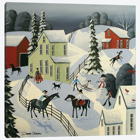 Snow Fun And Friends Canvas Print #DEC166} by Debbie Criswell Art Print